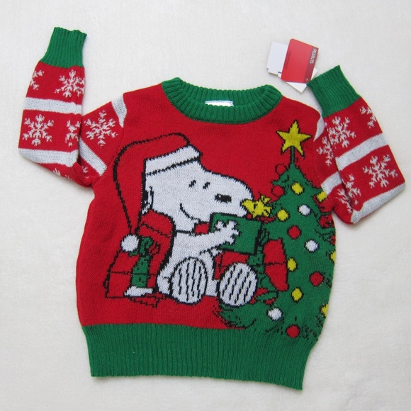 Peanuts Infant /& Toddler Boys Blue Snoopy /& Woodstock Christmas Holiday Sweater